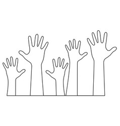 hands one line drawing vector image vector image