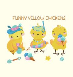 Happy cute baby chickens vector