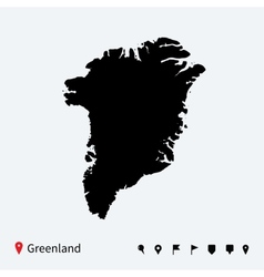 High detailed map of greenland with navigation vector
