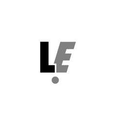 Le l e black white grey alphabet letter logo icon vector