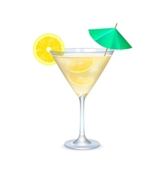 Martini glass with cocktail with lime and umbrella vector image vector image