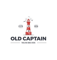Nautical logo design icon Old captain emblem with vector image