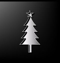 New year tree sign gray 3d printed icon vector