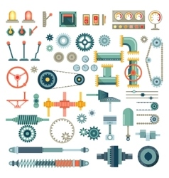 Parts of machinery flat icons set vector image vector image