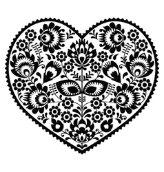 Polish black folk art heart pattern on white - wzo vector image vector image