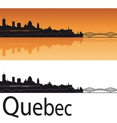 Quebec skyline in orange background vector image vector image