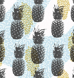 Retro 80s summer seamless pattern with pineapple vector