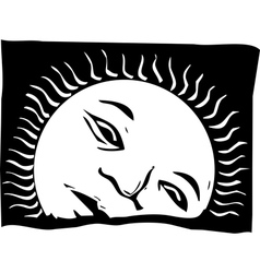 Rising sun face vector