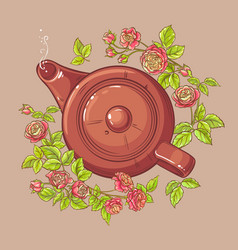 Rose tea in teapot vector