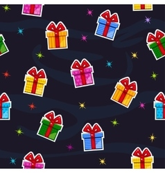 Seamless pattern with flat gift box sticker vector