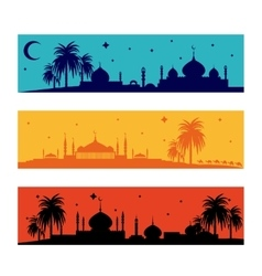 Set of horizontal islamic ramadan banners vector image