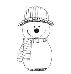 Snowman icon in doodle sketch lines snow winter vector