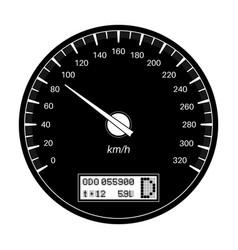 speedometer 90 km per hour black flat vector image
