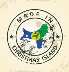 Stamp with map flag of christmas island vector