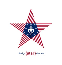 star with microphone and american flag colors vector image