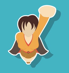 Super hero woman sticker poster in comic style vector