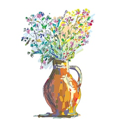 Vase and flower sketch for gretting card vector