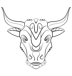 Vintage bull tattoo ink sketch vector image vector image
