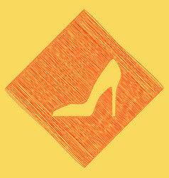Woman shoe sign red scribble icon vector
