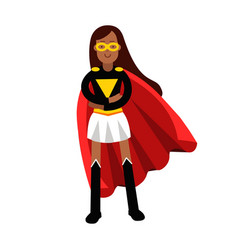 young black woman in classic dress of superhero vector image vector image