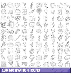 100 motivation icons set outline style vector