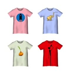 T shirt template with different prints variation 4 vector