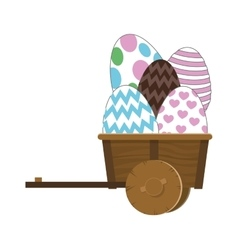 Easter eggs in wagon icon vector
