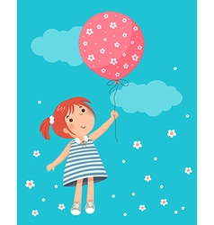 Little girl holding balloon vector image