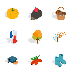 Symbols of autumn icons isometric 3d style vector