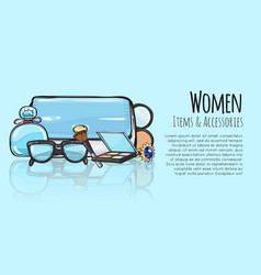 Women items and accessories blue female objects vector