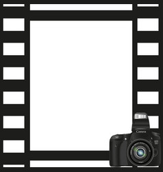 Black photo frame with a camera in the bottom vector