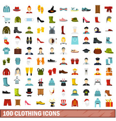100 clothing icons set flat style vector