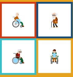 Flat icon handicapped set of wheelchair disabled vector