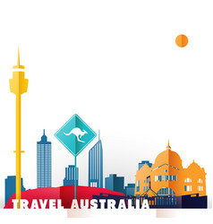 Travel australia paper cut world monuments vector