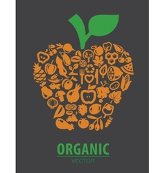 organic vegetables and fruits vector image