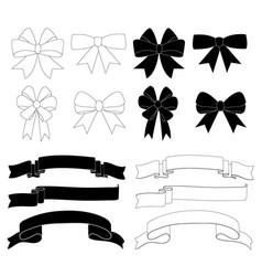 Gift bow ribbon decoration icon set vector