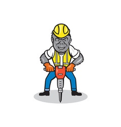 Gorilla construction jackhammer cartoon vector