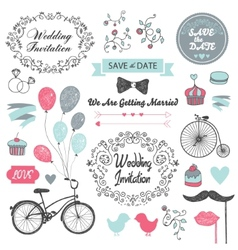 Set of vintage wedding invitation design elements vector