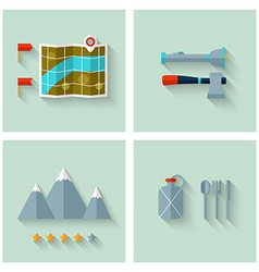 Camping adventure icons set flat design vector