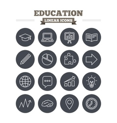 Education linear icons set thin outline signs vector