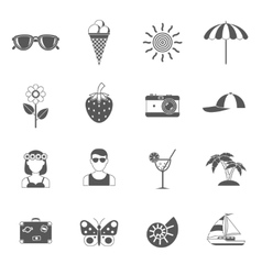 Summer and traveling icons set vector