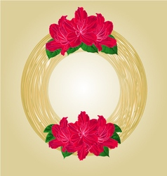 Wreath with red rhododendrons greeting card vector