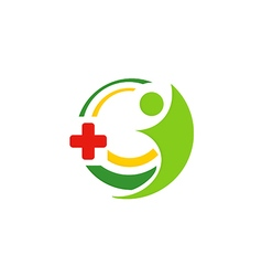 hospital medic cross people logo vector image