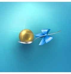 Glossy gold sphere in spoon vector