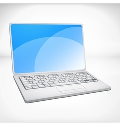 3d rendering of a laptop with blue graphics vector