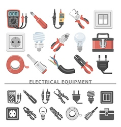 Flat icons electrical equipment vector