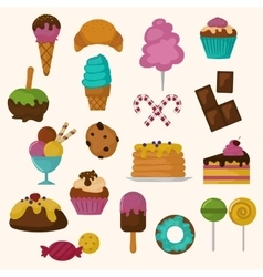 Cakes icons set on white background vector image