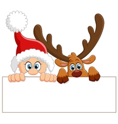 Santa and deer holding blank sign vector