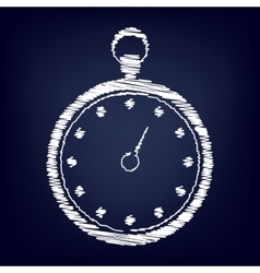 Stopwatch icon with chalk effect vector image