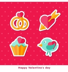 Flat cons happy valentine day vector